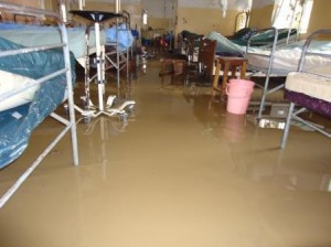 One of the flooded  wards at Kilembe Hospital