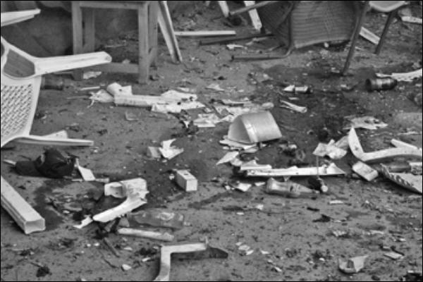 Bomb blasts scene
