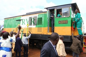 President Museveni (in hat) flags off the Rift Valley Railway operations at the weekend in Gulu District. Photo by Cissy Makumbi.
