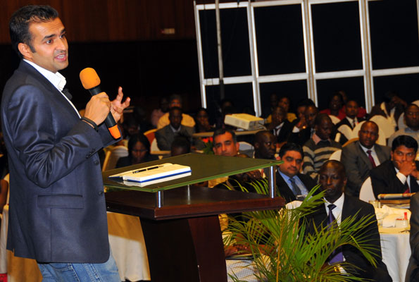 Ashish Thakkar, the key note speaker at the Monitor thought leaders forum delivers the key note speech. PHOTO Y FAISWAL KASIRYE