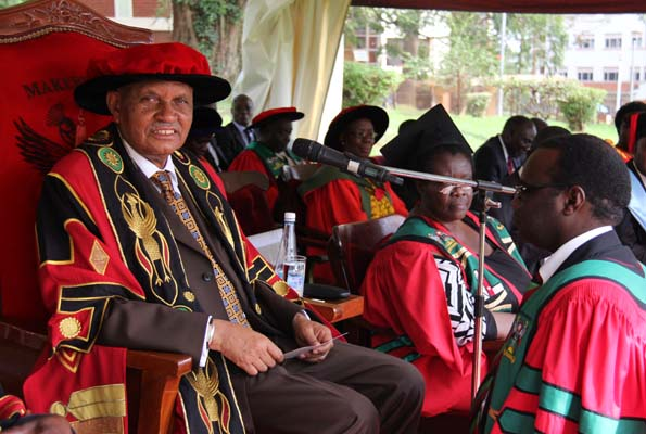 MUK Chancellor Prof.Mondo Kagongera at an earlier graduation ceremony