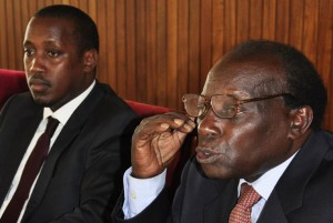 Western youth MP Gerald Karuhanga and his lawyer, Mr George Kanyeihamba, at a press conference at Parliament yesterday. They say the acting Chief Justice Steven Kavuma is illegally appointed to the office. PHOTO BY GEOFFREY SSERUYANGE