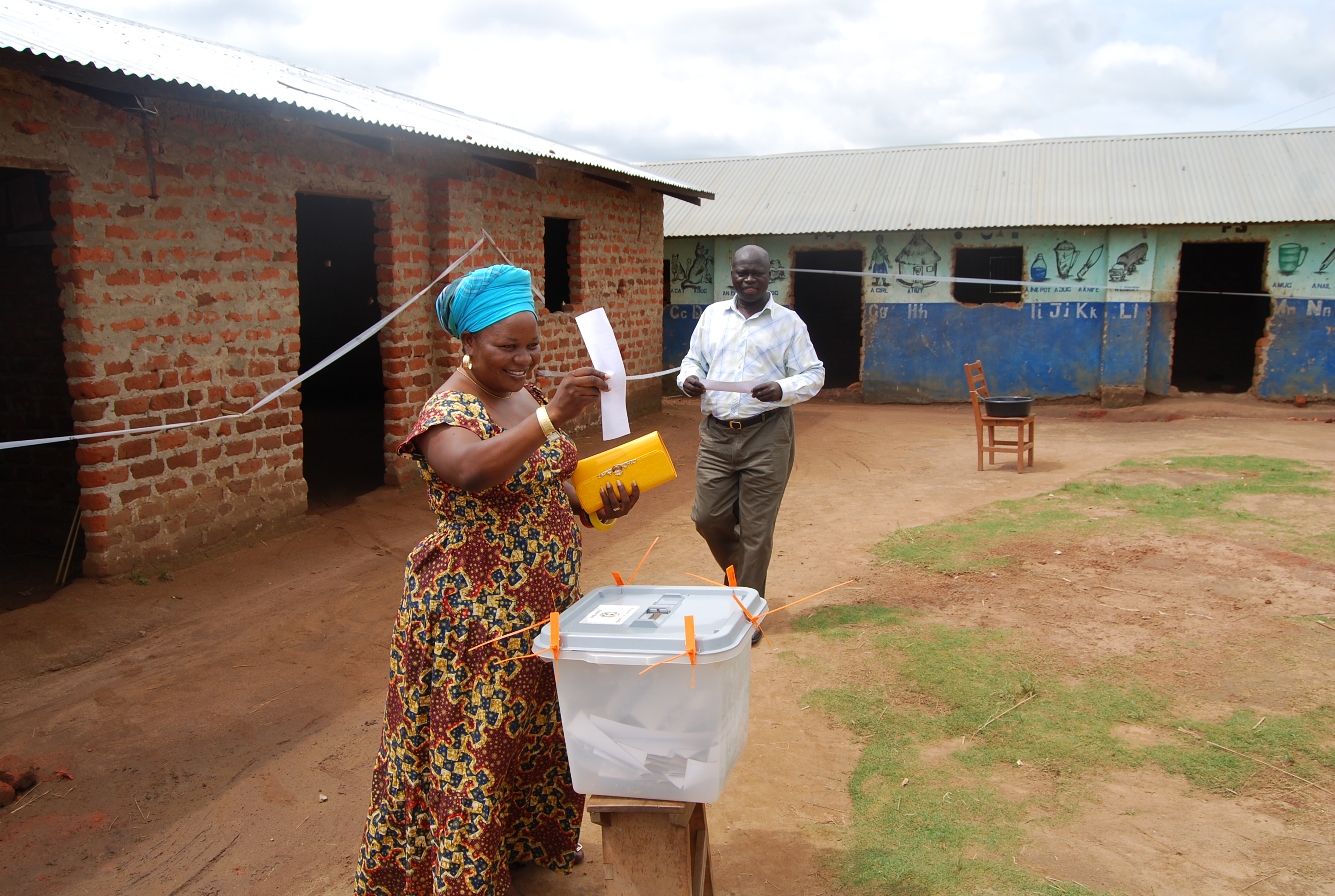 NRM's Jane Frances Amongin casts her vote