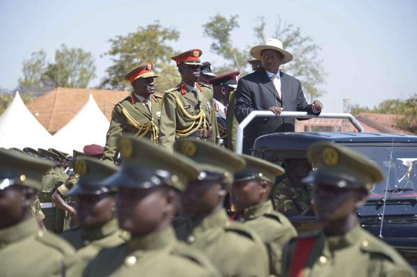 President Yoweri Museveni inspects the guard of honour