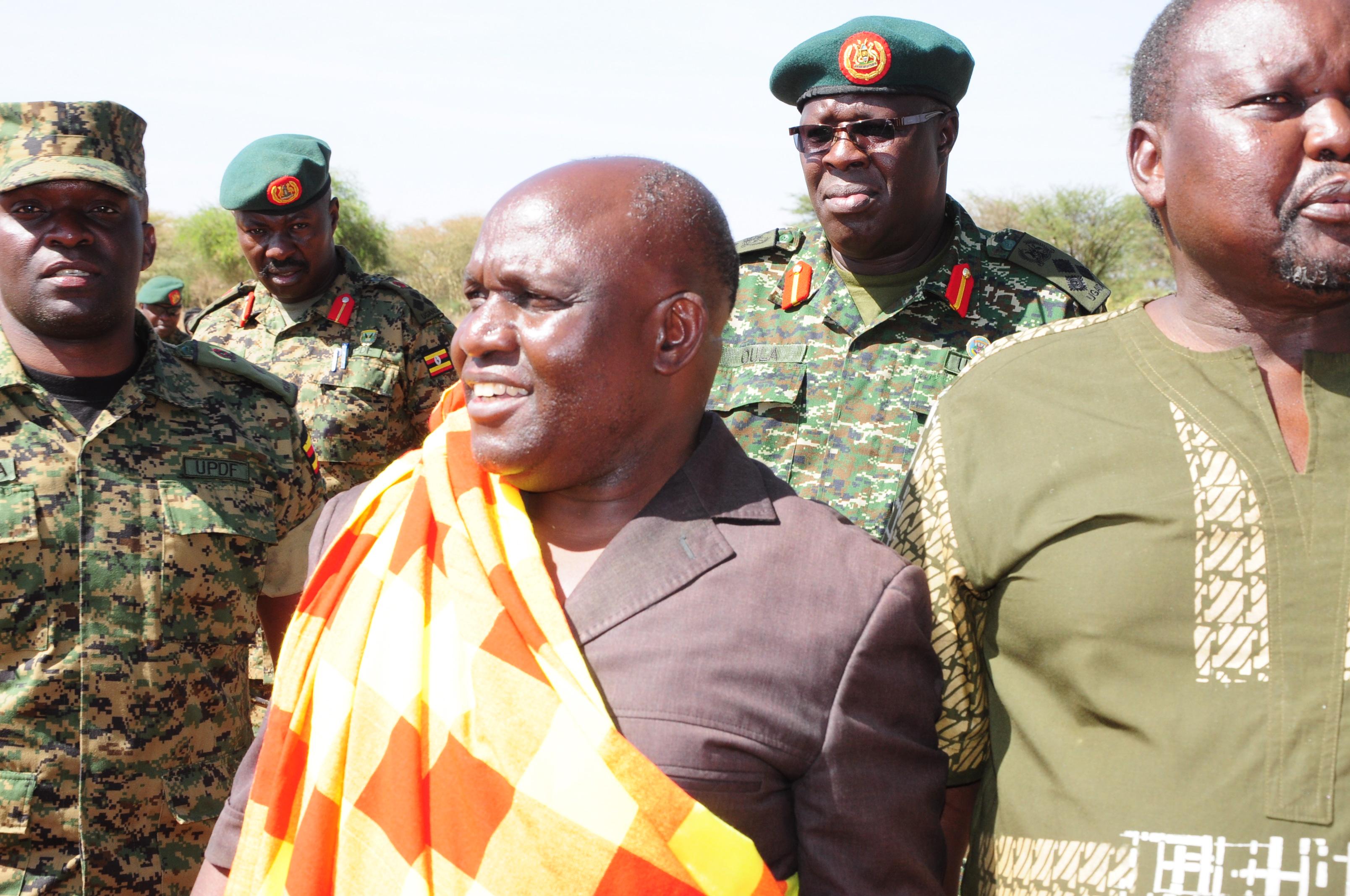 Defence minister Crispus Kiyonga in Karamoja