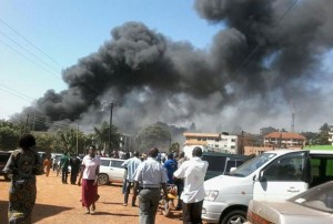Black smoke billowing from Crest foam mattress factory. (Courtesy Daily Monitor)