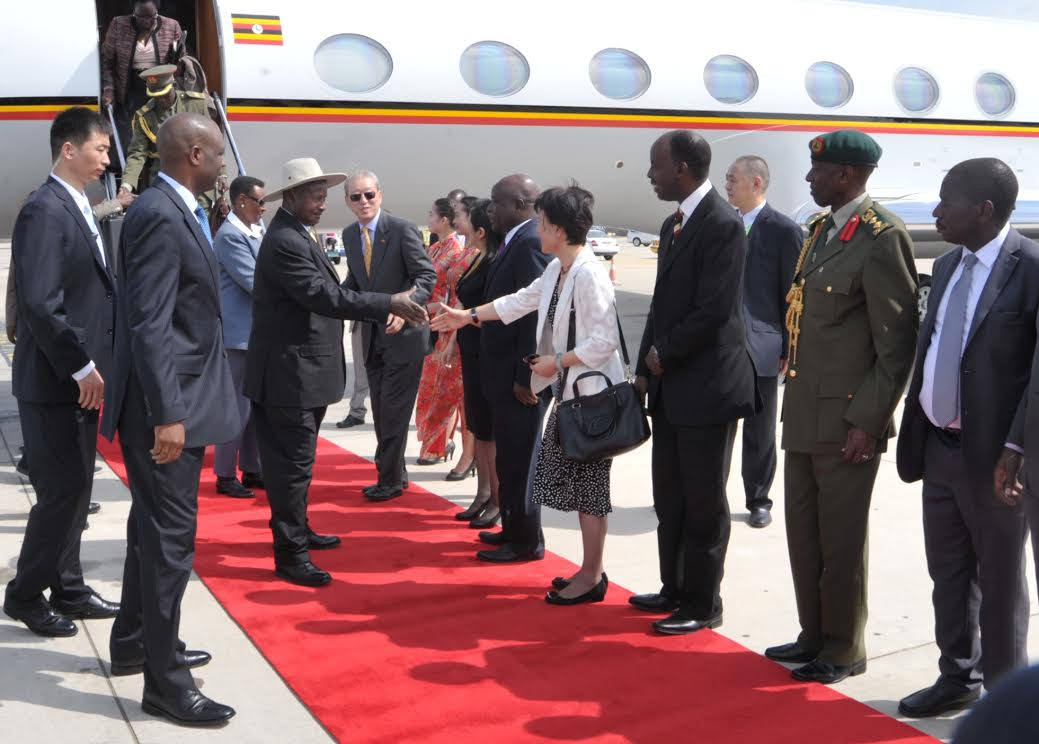 President Yoweri Museveni arrives in China