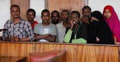 The terror suspects in an earlier Court appearance. The two Veiled women have been set free. (Courtesy Daily Monitor)
