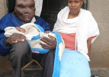 Uganda's Ugliest Man Blessed With Beautiful Baby Girl