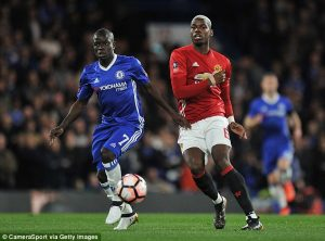 Pogba was outshone by 30m pound Chelsea midfielder N'Golo Kante at Stamford Bridge on Monday night
