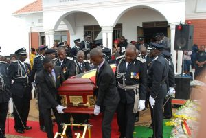 Casket with the remains of the Fallen AIGP being taken out of his ancestral home for the last time.