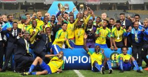 Mamelodi Sundowns celebrate with the trophy after winning the 2016 CAF Champions League Final 2nd leg between Zamalek and Mamelodi Sundowns