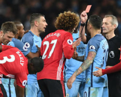 Fellaini sent off for headbutting Aguero in Manchester derby