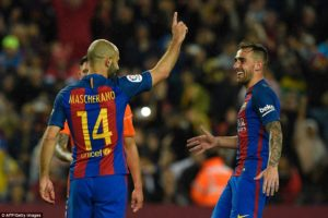 Javier Mascherano scored his first Barcelona goal, after seven years at the club, when he smashed in a penalty