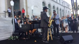 "Los Angeles Mayor Eric Garcetti played piano with a jazz band on the steps of City Hall on Tuesday in honor of ""La La Land."""