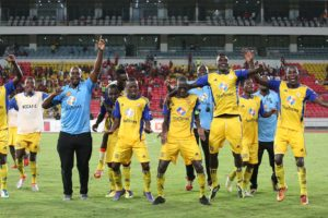KCCA players celebrating after quaiftying for first round