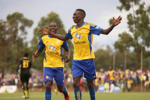Derrick Nsibambi and Geoffrey Sserunkuma celebrate